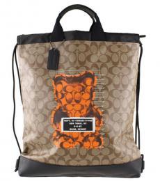 Coach Tan Signature Bear Terrain Large Backpack