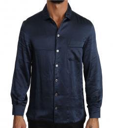 Dolce & Gabbana Navy Blue Silk Casual Lounge Shirt