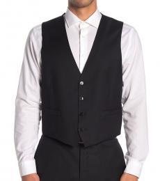 Calvin Klein Black Twill Slim Fit Suit Vest