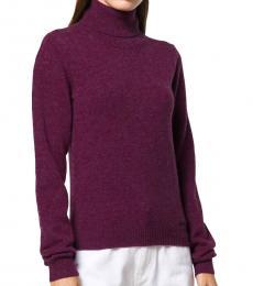 Dsquared2 Dark Purple Wool Turtle Neck Sweater
