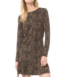 Michael Kors Brown Jacquard Flounce Dress