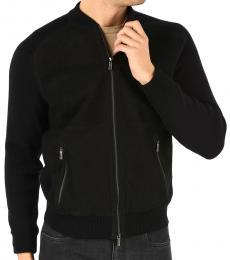 Ermenegildo Zegna Black Suede Leather Cardigan