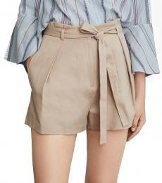 Beige Belted Paperbag Waist Short
