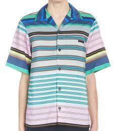 Blue Logo Striped Shirt