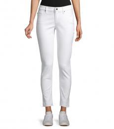Karl Lagerfeld White Denim Released-Hem Skinny Jeans