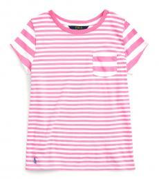 Ralph Lauren Girls Baja Pink Striped T-Shirt