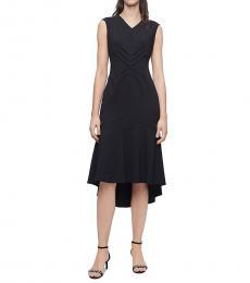 Black Chevron Flutter Hem Dress