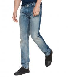 Blue Slim Fit Distressed Jeans