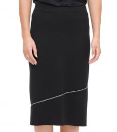 Black Asymmetric Stripe Sweater Skirt