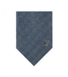 Versace Sky Blue Herringbone Tie