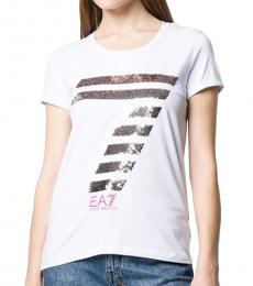 Emporio Armani White Stretch Cotton Logo T-Shirt