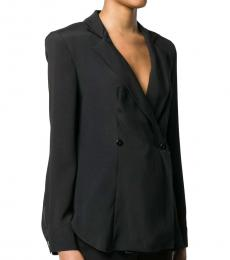 Emporio Armani Black  Silk Blend Double-Breasted Fitted Blazer