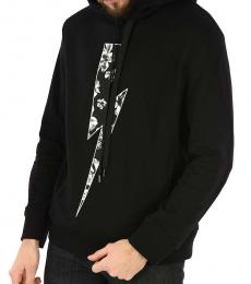 Neil Barrett Black Printed Hooded Sweatshirt