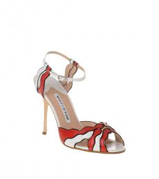 White Red Ankle Strap Heels