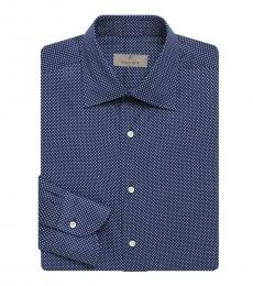 Canali Blue Microdot Long Sleeve Shirt
