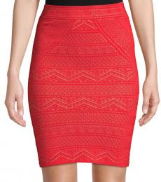 BCBGMaxazria Red Alexa Knit Pencil Skirt