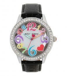 Betsey Johnson Black See Through Dial Watch