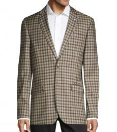 Brown Standard-Fit Checkered Coat