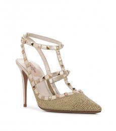 Valentino Garavani Gold Rockstud Caged Heels
