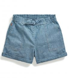 Ralph Lauren Little Girls Indigo Chambray Cargo Short