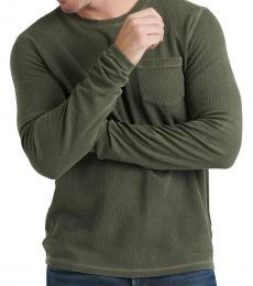 Olive Ribbed Pocket Sweater