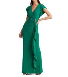 Ralph Lauren Malachite Flutter-Sleeve Surplice Dress