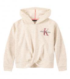 Calvin Klein Little Girls Oatmeal Logo Twist Hoodie