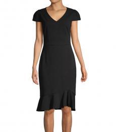 Betsey Johnson Black-Short-Sleeve Sheath Dress
