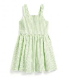 Ralph Lauren Little Girls Green Multi Seersucker Dress