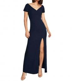 BCBGMaxazria Dark Navy Puff Sleeve Evening Dress