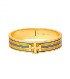 Tory Burch Orange-Turquoise Kira Guilloche Bracelet