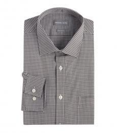 Michael Kors Grey White Regular Fit Check Dress Shirt