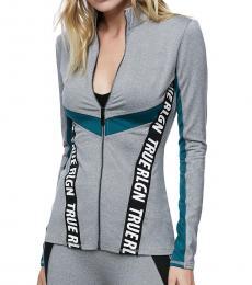 True Religion Heather Grey Color Block Track Jacket
