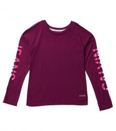 Calvin Klein Girls Berry Running Logo T-Shirt