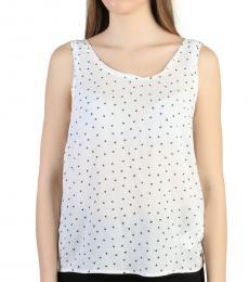 Armani Jeans White Scoop Neck Polka Dot Top