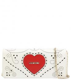 Love Moschino White Perforated Large Crossbody