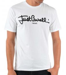 Just Cavalli White Logo Printed T-Shirt