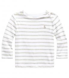 Ralph Lauren Baby Boys Grey White Striped Interlock T-Shirt