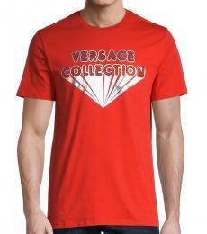 Versace Collection Orange Diamond Logo T-Shirt