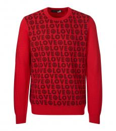 Love Moschino Red Allover Logo Sweater
