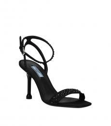 Prada Black Studded Ankle Strap Heels