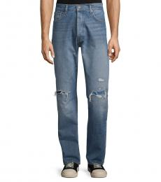7 For All Mankind Blue Vintage Straight-Fit Distressed Jeans