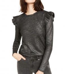 Michael Kors Black Linen Blend Metallic Top