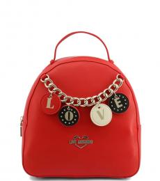 Love Moschino Red Love Charm Small Backpack