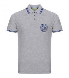 Versace Jeans Grey Pique Logo Polo