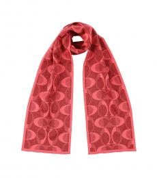 Coach Pink Scarlet Silver Signature Scarf