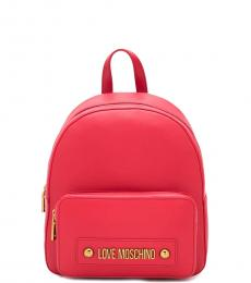 Love Moschino Red Solid Small Backpack