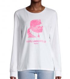 Karl Lagerfeld White Logo Long-Sleeve T-Shirt