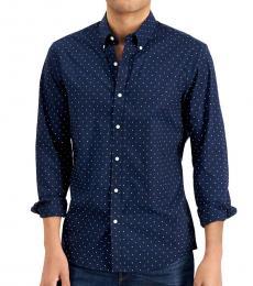 Michael Kors Navy Blue Slim-Fit Mini Dot Shirt