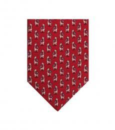 Salvatore Ferragamo Red Giraffe & Bird Silk Tie